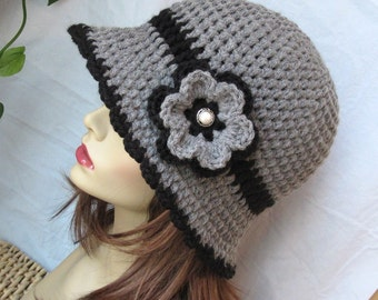 SALE Womens Hat, Grey Flower Cloche, Black Flower, Pearl Button, Flapper Hat, Birthday Gifts, Photo Prop, JE275CFALL