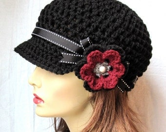 Hat Womens Hat, Black Newsboy, Burgundy, Teens, Cancer Hat, Black Ribbon, Flower, Holiday Gifts for Her, Christmas gift, Birthdays JE148NFR7