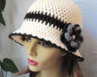 Womens Hat, Off White and Black Cloche, Cream, Flower, Grey, Chemo, Brim, Button, Ivory, Cowboy Hat, Weddings, Church, Tea hat, JE278CFCALL