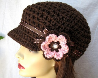 Chocolate Brown Womens Hat, Flower Newsboy, Teen, Mocha, Ribbon, Pink Flower, Pearl, Birthday Gifts, Fun Hat, JE129CFR1