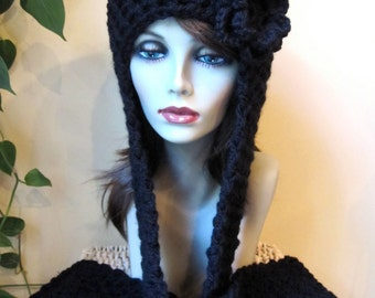 SALE Black Hood Beanie, Womens Hat, Built in Scarf, Crocheted Flower, Chunky, Warm. Teens, Fall, Birthday Gifts, Gifts for Her, JE410BFF2