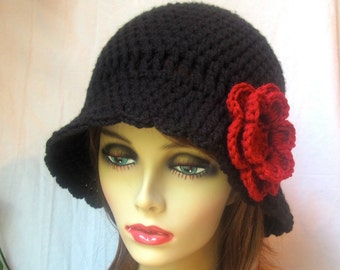 Black Women Cloche, Red Flower, Winter Hat, Teens, Dressy, Wedding Gifts, Bridal wear, Photo Props, Handmade, JE376CRALL2