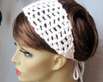 SALE White Crochet Headband, Summer Spring Headband, Cotton, Gifts for her, Photo Prop, Birthday Gifts, Handmade, HBJE108