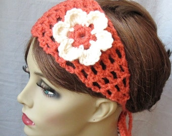 Crochet Headband, Spring Flower, Summer Headband, Coral or Pick Color, Gifts for her, Photo Prop, Birthday Gifts, Handmade - HBJE114F