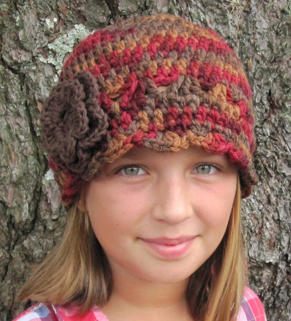 SALE Girls Teens Womens Hat, Winter Beanie, Flower, Gold, Red, Brown, Wool, Birthday gifts, Gifts for Girls,JE63BFALL