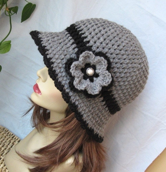 Womens Hat, Grey Flower Cloche, Black Flower, Pearl Button, Flapper Hat, Birthday Gifts, Photo Prop, JE275CFALL