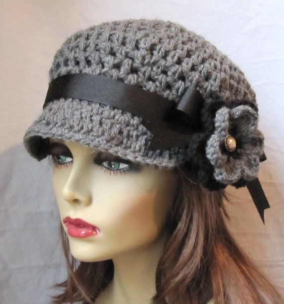 Womens Hat, Newsboy, Gray Crochet Black, Pearl, Flower, Ribbon, Woman gift, Weddings, Birthday Gifts, Gift for her JE270NRFALL