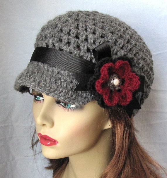 Crochet Hat Newsboy, Charcoal Grey  Black Ribbon, Burgundy, Pearl, Flower, Birthday Gift Ideas, Photo Prop, Handmade J E270NRFALL2