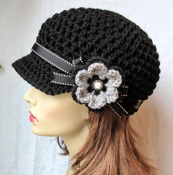 Crochet Flower For Hat : Crochet Newsboy, Hat, Black, Ribbon, Flower, Gray, Pearl Button, Gifts ...