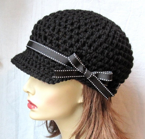 Womens Hat, Teen Adult Black Newsboy, Black Ribbon, Gifts for Her, Birthday Gifts JE148NRALL