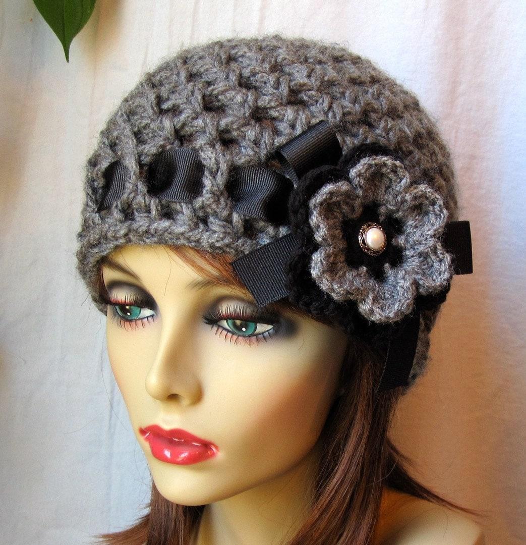 sale crochet hat charcoal grey womens hat beanie crocheted