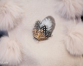 dotted feather hair fascinator