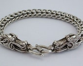 Estate Sterling Silver DOUBLE HEADED Dragon Link BRACELET - Year of the Dragon