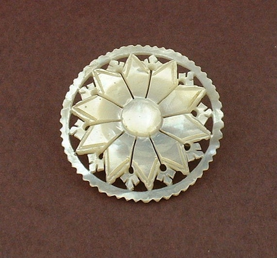 Carved Flower Mother of Pearl Brooch, ca 1950's