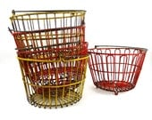 Egg Basket, Enameled Red & Yellow Wire Gathering Baskets