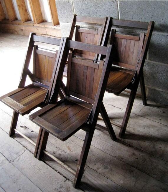 SALE Set of 4 Vintage Childrens Slat Back Wooden Oak Folding