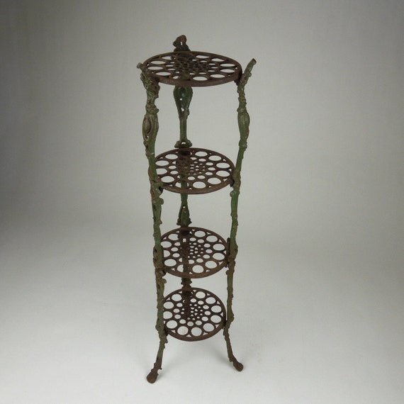 Antique cast iron tiered plant stand - Tiered metal plant stand ...