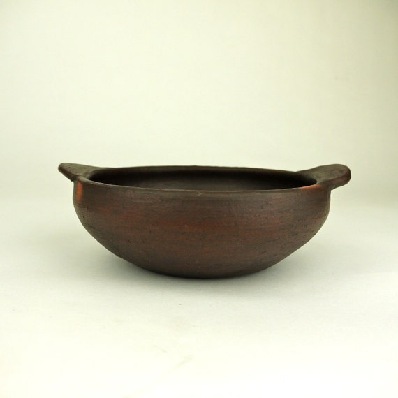 Hand Thrown Earthenware Pottery Handled Bowl