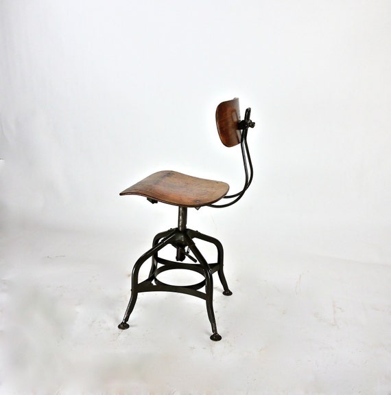Antique Factory Industrial Toledo Drafting Stool
