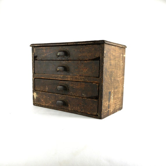 Antique Oak General Store Machinists Cabinet Toolbox