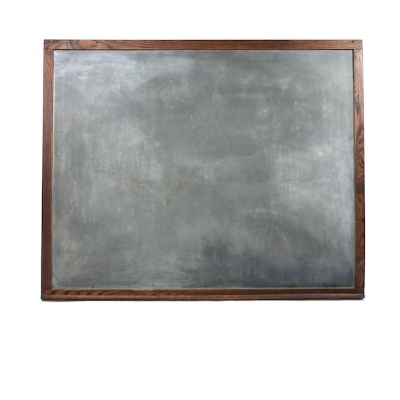Antique Monumental Oak Framed Slate Chalkboard