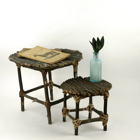 Antique Adirondack Decorative Folk Twig Stand Tables Set of Two