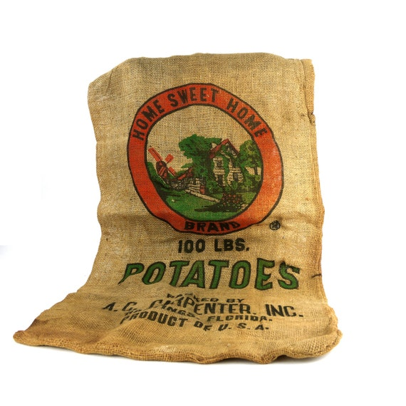 "Feed Sack, Vintage ""Home Sweet Home""  Burlap Potato Sack"