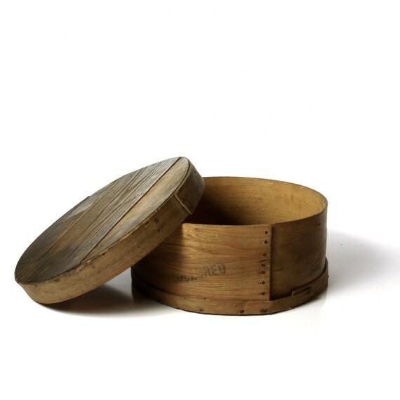 Vintage Wooden Cheese Wheel Box