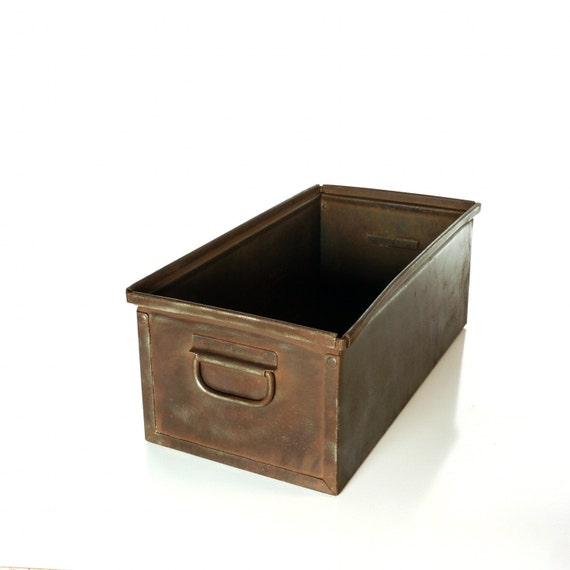 Vintage Lyon Metal Box, Steel Handled Storage Hardware Bin
