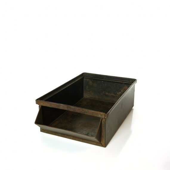 Vintage Industrial Hallowell Metal Hardware Parts Bin, Steel Box