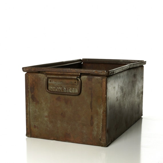 Vintage Union Metal Industrial Hardware Bin, Steel Box