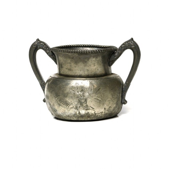 Antique Victorian Sugar Bowl, New Haven Silverplate Urn Vase
