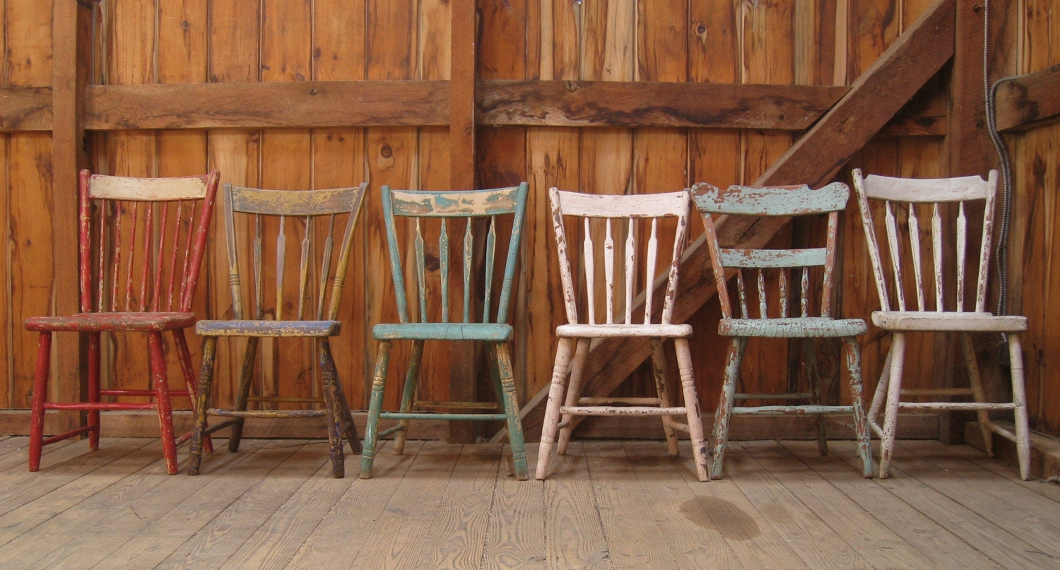 Antique Primitive Plank Seat Farmhouse Dining Chairs Set of