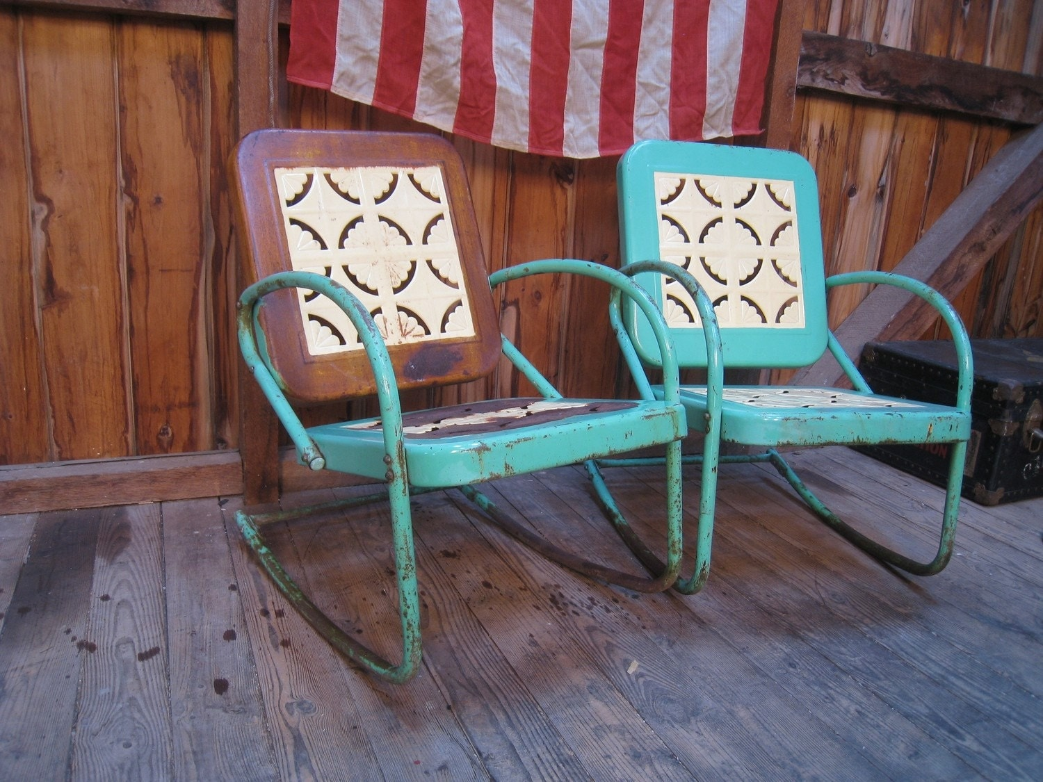 Vintage 1950s Metal Lawn Porch Glider Patio Chairs