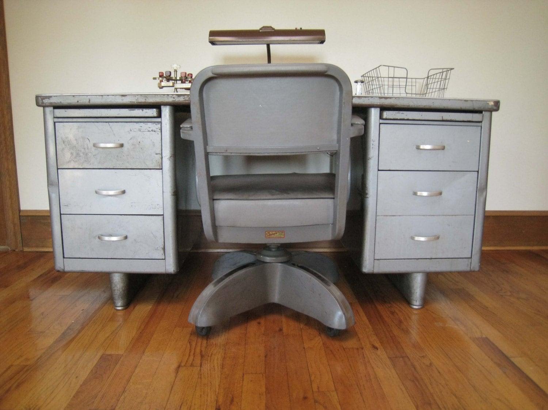 Vintage Industrial Tanker Desk And Chair By Dailymemorandum