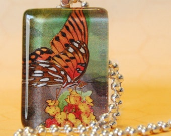 Glass Tile Butterfly Photo Pendant Necklace XO101 Ready to Ship