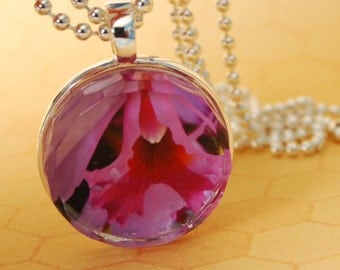 Faceted Glass Tile Photo Pendant Necklace Cattleya Orchid GT113