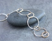 recycled fine silver and gold bracelet- the circles