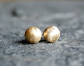 solid 14K recycled yellow gold brushed post earrings- the dots