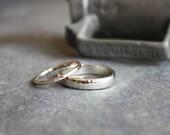recycled 14K white gold hammered wedding set