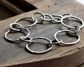 heavy gauge fine silver bracelet- the circles
