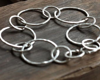 classic hammered recycled silver bracelet- the circles