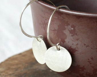 brushed recycled silver disk earrings- the solstice mini