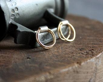 Gold and recycled silver circle post earrings | mixed metal loop stud earrings | ecofriendly earrings