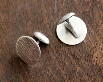 recycled silver wood textured cuff links | ecofriendly wedding | rustic silver cuff links