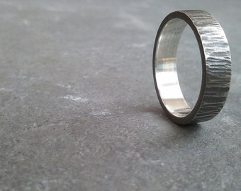 recycled sterling silver men's textured band