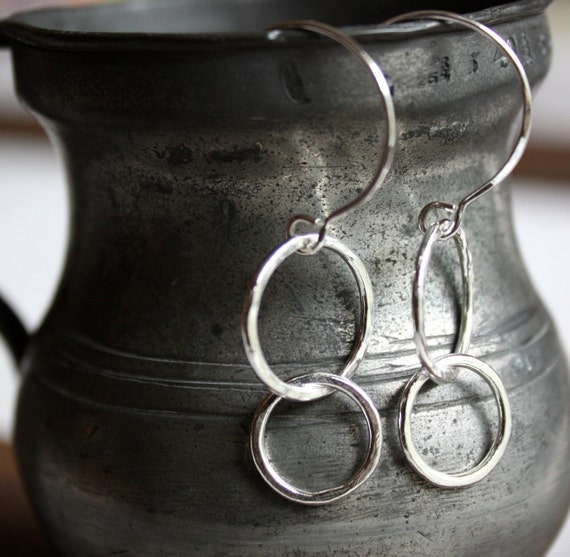 recycled fine silver circle earrings- the silver bubbles
