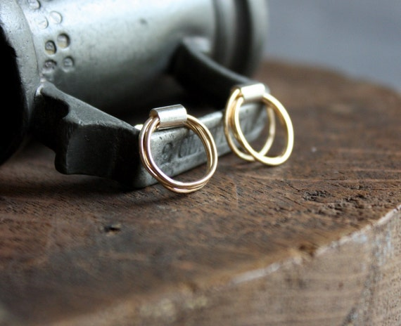 Gold and recycled sterling circle post earrings