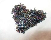 Oil Slick Sead Beads and Tube Beads, Plastic