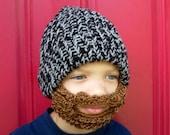 kids beard beanie, kids beard hat ,The Original Beard Beanie™ little man lumberjack - youth size, crochet beard hat, kids crochet beard